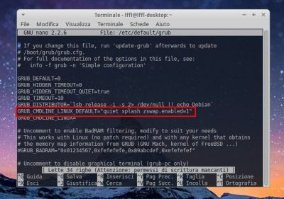 Xubuntu - Attivare ZSwap da Grub
