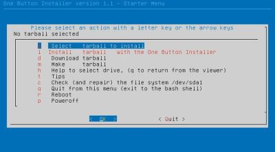 Ubuntu One Button Installer . Menu